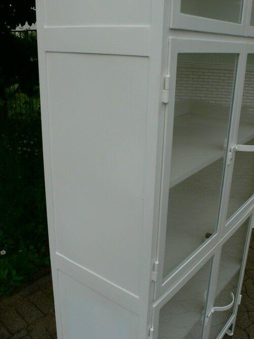 Vitrine antik Metall Eisen Industrie Design restauriert um 1930 Jhd. Loft Möbel 5