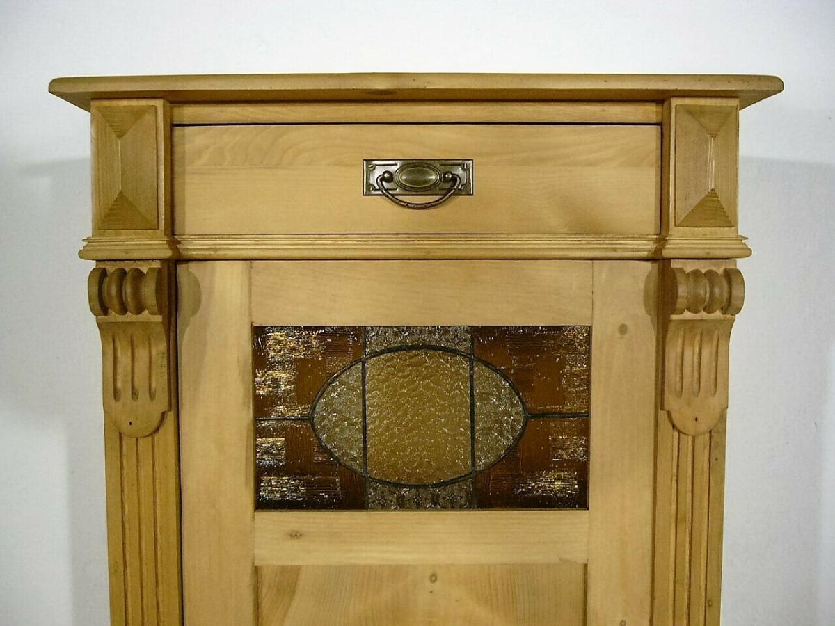 Vertiko Weichholz schmal antik Bleiglas Schrank um 1900 Jhd.