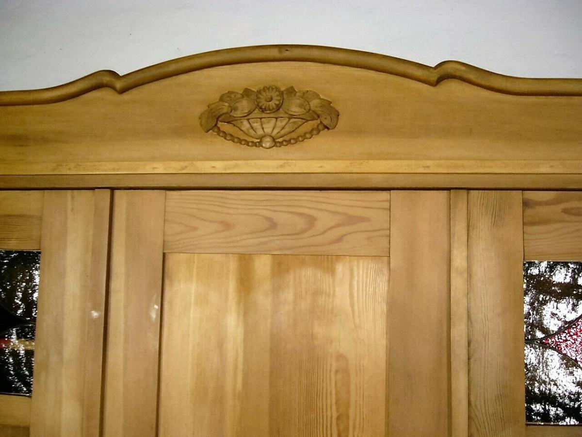Schrank Jugendstil riesig zerlegbar Weichholz antik Bleiglas um 1900 Jhd. 4