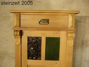Vertiko Weichholz schmal Gründerzeit Schrank antik mit Glas um 1900