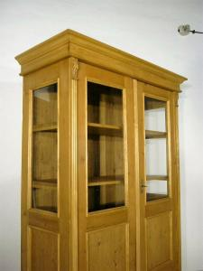 Vitrine Jugendstil Weichholz antik Glas Schrank um 1900 Jhd.
