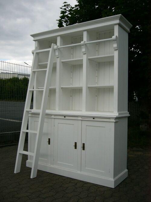 Bibliothek Bücherschrank Bücherregal im Landhaus Look mit Leiter 0