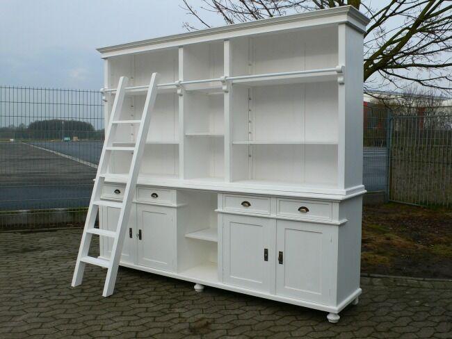 Bibliothek Bücherwand Bücherregal Bücherschrank Ladenschrank weiß 250 cm lang 0