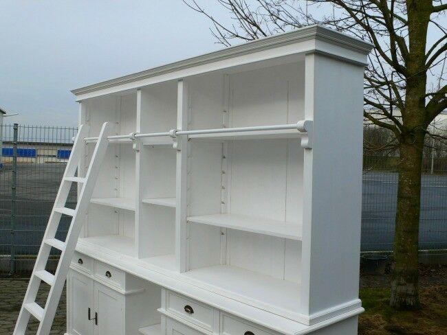 Bibliothek Bücherwand Bücherregal Bücherschrank Ladenschrank weiß 250 cm lang 1