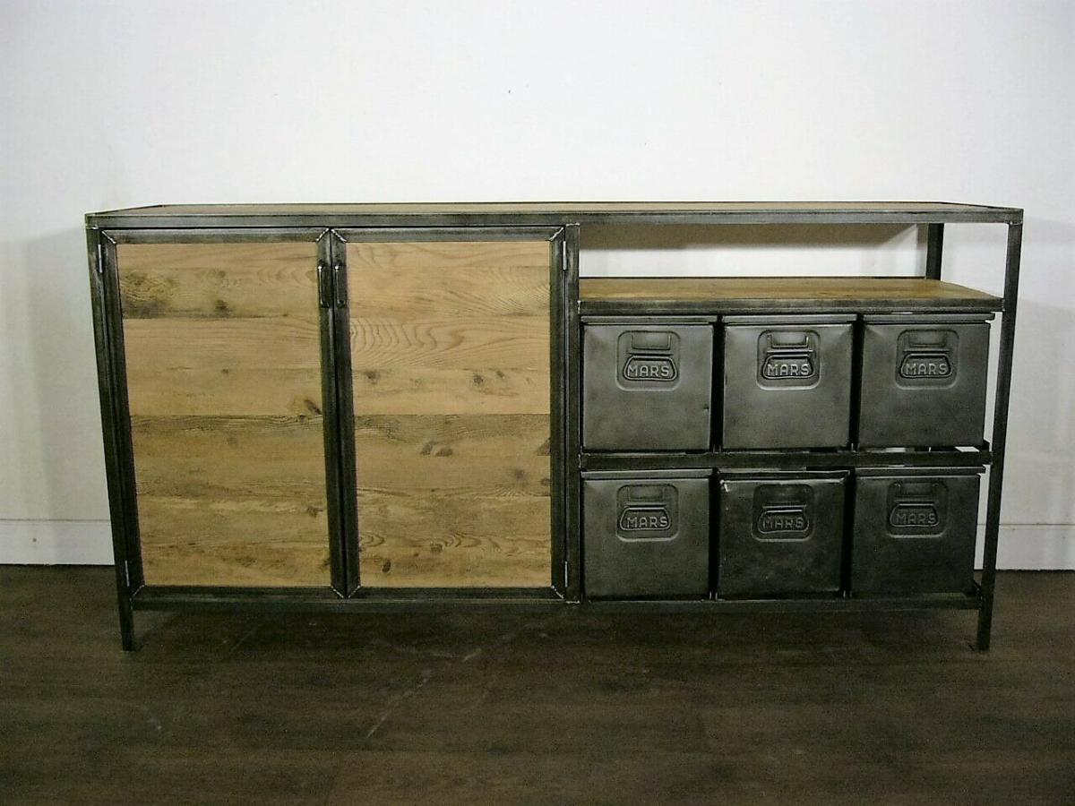 Anrichte Eisen restauriert Loft Industrie Design um 1940 Jhd.