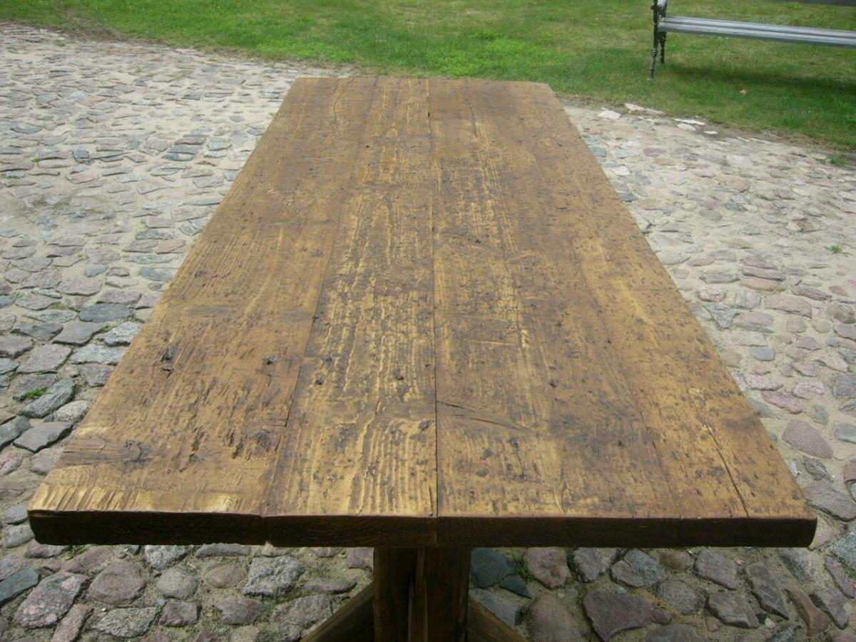 Tisch Klostertisch antik sehr selten Weichholz lang restauriert um 1850 Jhd. 3