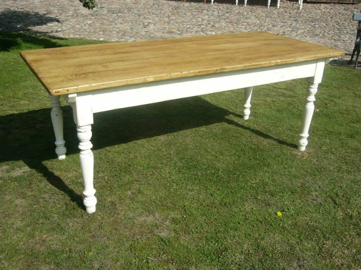 Tisch Lang antik Gründerzeit restauriert im Shabby Look um 1900 Jhd. 1