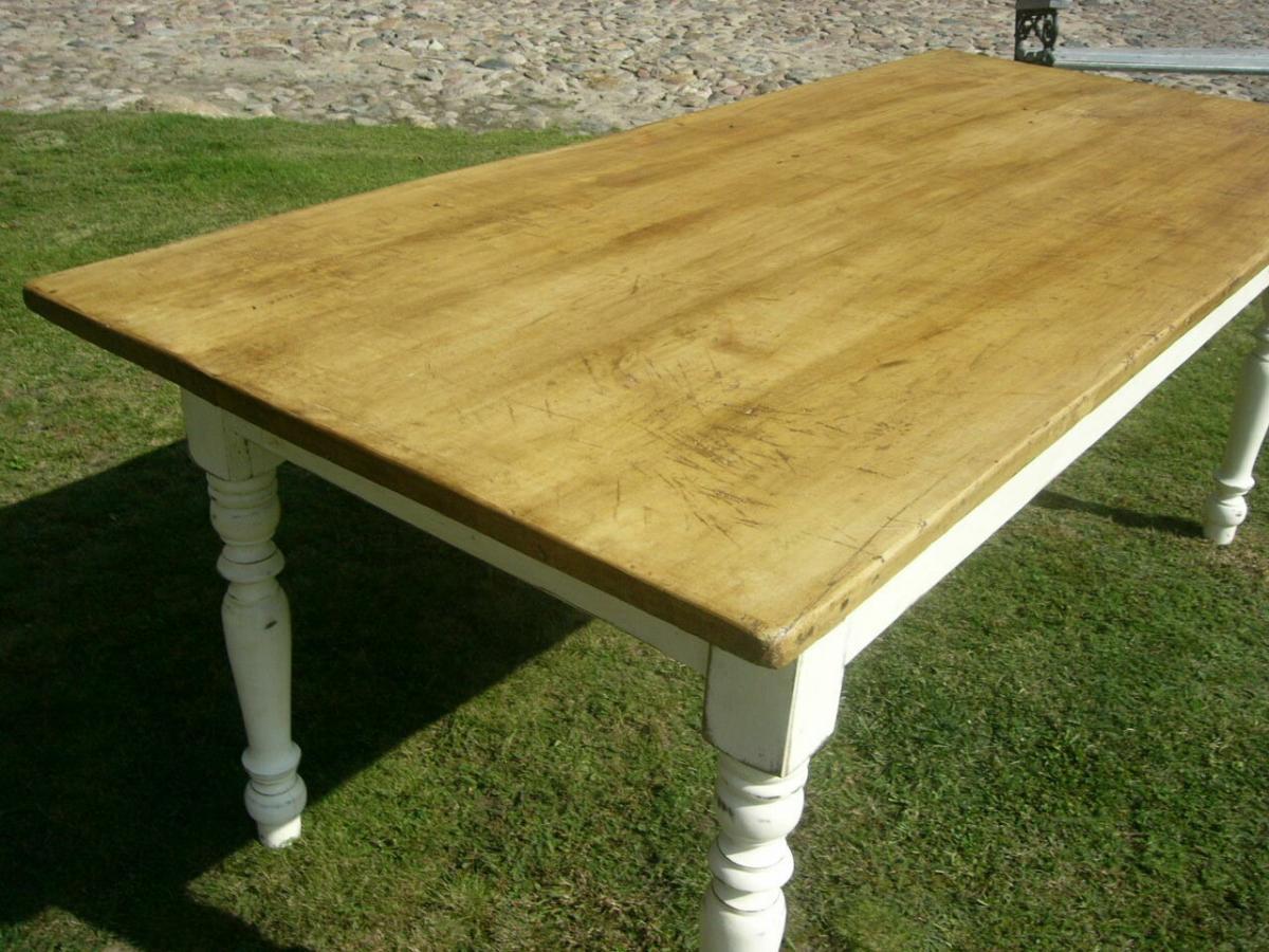 Tisch Lang antik Gründerzeit restauriert im Shabby Look um 1900 Jhd. 5