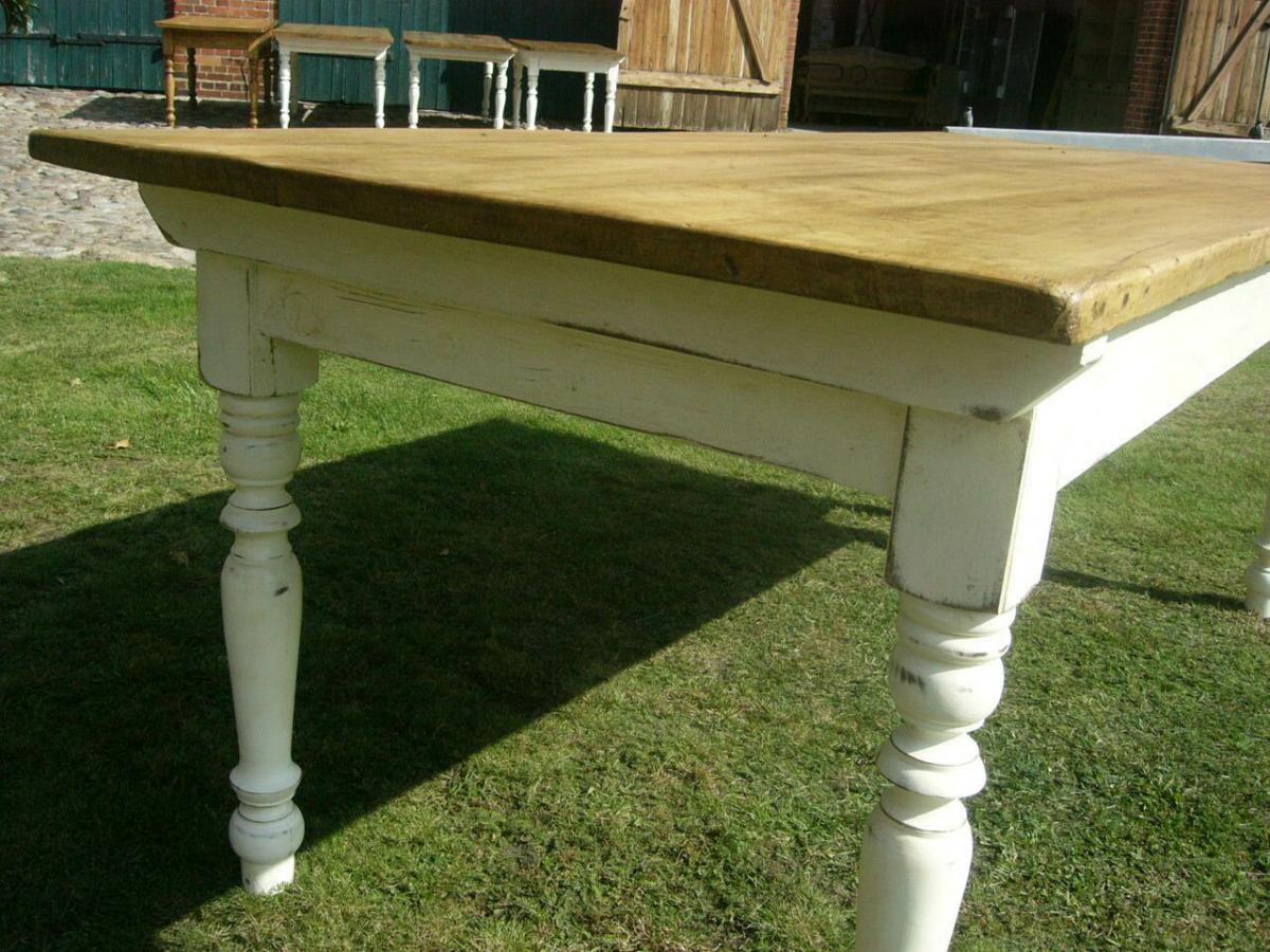 Tisch Lang antik Gründerzeit restauriert im Shabby Look um 1900 Jhd. 6