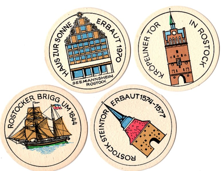 DDR - 4 verschiedene original Bierdeckel mit Motiven aus Rostock - vermutlich aus dem VEB Getränkekombinat Hanseat Rostock