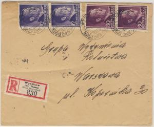 Bes. Polen -  Wyszkow ü. Tluszcz  Poststelle I Einschreibebrief n. Warschau 1943