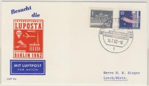 Berlin - LUPOSTA 1962 Schmuck-Luftpostbrief SST Berlin - Lorch Marken Perfin