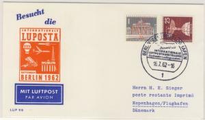 Berlin - LUPOSTA 1962 Schmuck-Luftpostbrief n. DÄNEMARK SST, Marke Perfin