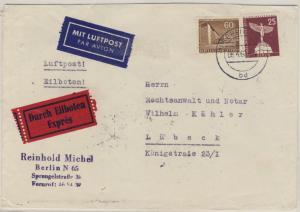 Berlin - 25+60 Pfg. Stadtbilder Luftpost Eilbrief Berlin N65 - Lübeck 1960