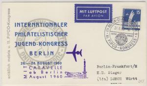 Berlin  - XI. FIPCO-Kongress 1960 Lupo-Sonderkarte SST n. Lorch Sonderflug