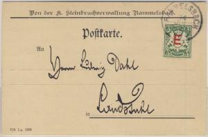 Bayern - 5 Pfg. Wappen/E., Dienstpostkarte Rammelsbach - Landstuhl 1909