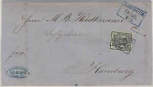 Hannover - 1 Ggr. (vollrdg.), Ra3 Hannover 24. Juli, Brief n. Hamburg