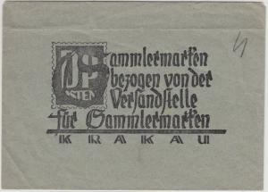 Gen.Gouv. - Versandstellenumschlag mit Zudruck d. Dt. Post Osten - SELTEN !!!