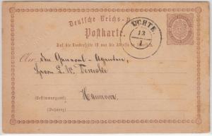 DR - Uchte (1875), nachv. hann. K2 a. 1/2 Gr. Brustschild GA-Karte (Prägung !)