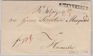 Hannover - Bodenwerder 24/7 (1832 ?), L1 a. Franco-Briefhülle n. Hameln