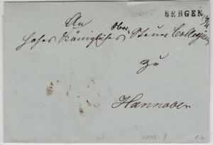 Hannover - Bergen 13/4 (1845 ?), L1 a. Briefhülle n. Hannover, ohne Inhalt