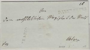 Hannover - Dannenberg + Franco, je L1 a. Briefhülle (ca. 1840) n. Uelzen