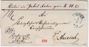 Hannover - Emden 9/1, blauer K2 a. Paketbegleitbrief n. Aurich undat. Briefhülle