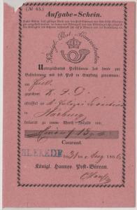 Hannover - Blekede, blauer L1 a. Postschein f. Fahrpostsendung n. Harburg 1866