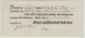 Hannover - Stade, Postschein f. Fahrpostsendung n. Celle 1803