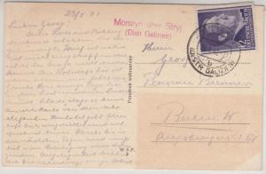 Gen.Gouv. - Morszyn ü. Stryl (Distr. Galizien), Landpost-L2 a. Karte n. Berlin