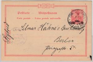 DP Türkei - 20 P. a. 10 Pfg. Germania GA-Karte Constantinopel - Berlin 1901