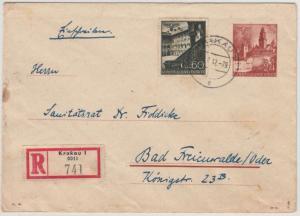Gen.Gouv. - 24 Gr. GA-Umschlag + Zusatz, Einschreibebrief Krakau 1942 n.