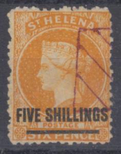 St. Helena - 5 Sh. a. 6 P., Victoria, Ausgabe 1864/83, gestempelt (fiskalisch ?)