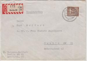 Berlin - 60 Pfg. Stadtbilder, Orts-Einschreibebrief Berlin 1959, ohne Inhalt