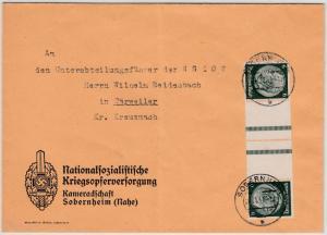 DR - Hindenburg Zusammendruck, Brief Obernheim - Bärweiler 1940