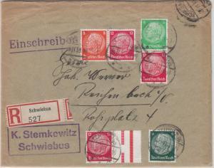 DR - Hindenburg Zusammendrucke, Einschreibebrief Schwiebus - Reichenbach 1933