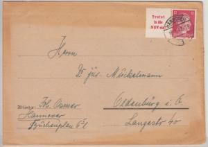 DR - AH Zusammendruck, Brief Hannover - Oldenburg 1942, Reichskolonialbund Vign.
