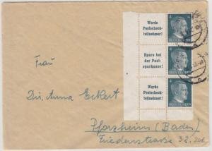 DR - AH Zusammendrucke, Brief Passau - Pforzheim 1942