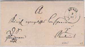 Hannover - Berge 3/12 (1869?) blauer K2 a. Dienstrbief n. Osnabrück, ohne Inhalt