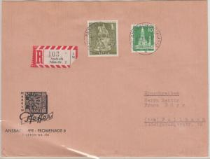 Berlin - 1 M. Kurfürst u.a., Einschreibebrief Ansbach - Fellbach 1958