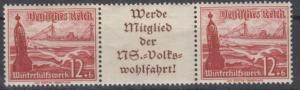 DR - 12 Pfg. WHW 1937 (Schiffe), Zusammendruck W130 postfrisch/MNH