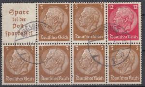 DR - Hindenburg Heftchenblatt 94 sauber gestempelt Augsburg 1940