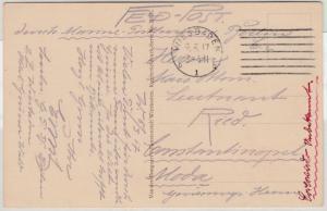 DR - Wiesbaden 1917, Feldpostkarte i.d. TÜRKEI, Leitvermerk Berlin C2
