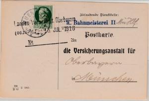 Bayern - 5 Pfg. Ludwig/E-Lochung, Orts-Dienstpostkarte München 1916