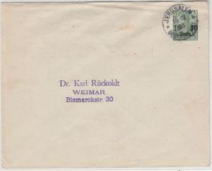 DP Türkei - 10 P. a. 5 Pfg. Germania/Reichspost GA-Umschlag Jerusalem 1905 n.