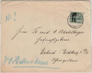 DP Marokko - 5 C. a. 5 Pfg. Germania/Typ II, Drucksache Tanger - Erbach 1904