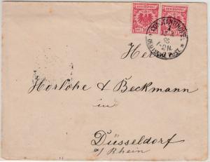 DP Türkei - 2x10 Pfg. Krone/Adler Mitläufer Brief Constantinopel 1895 n.