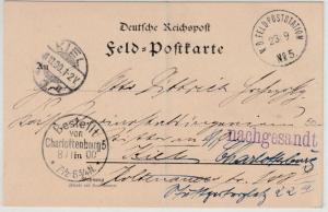 DP China - K.D.Feldpoststation No.5, Feldpostkarte/Irrläufer 1900 n. Kiel