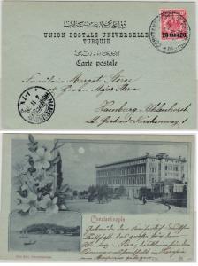 DP Türkei - 20 P. a. 10 Pfg. Krone/Adler, AK/Mondscheinlitho Contstantinopel1898