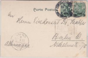 DP Türkei - 10 P. a. 5 Pfg. Germania/Reichspost Type II, Paar Constantinopel